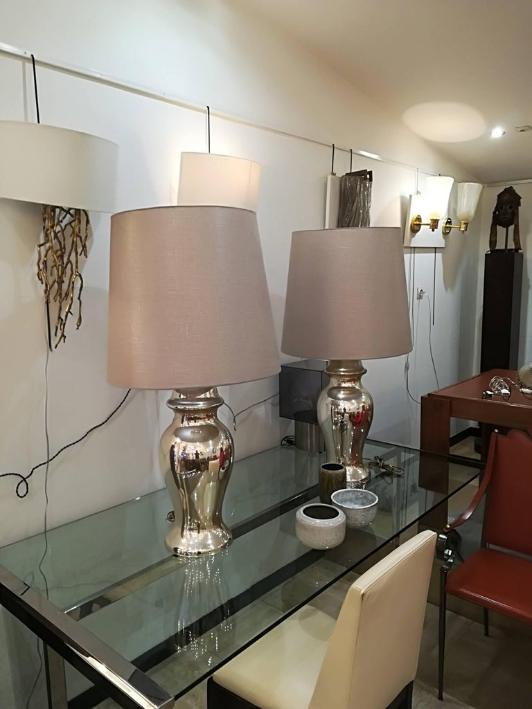 Glass Beautiful Pair of Eglomized Table Lamps For Sale