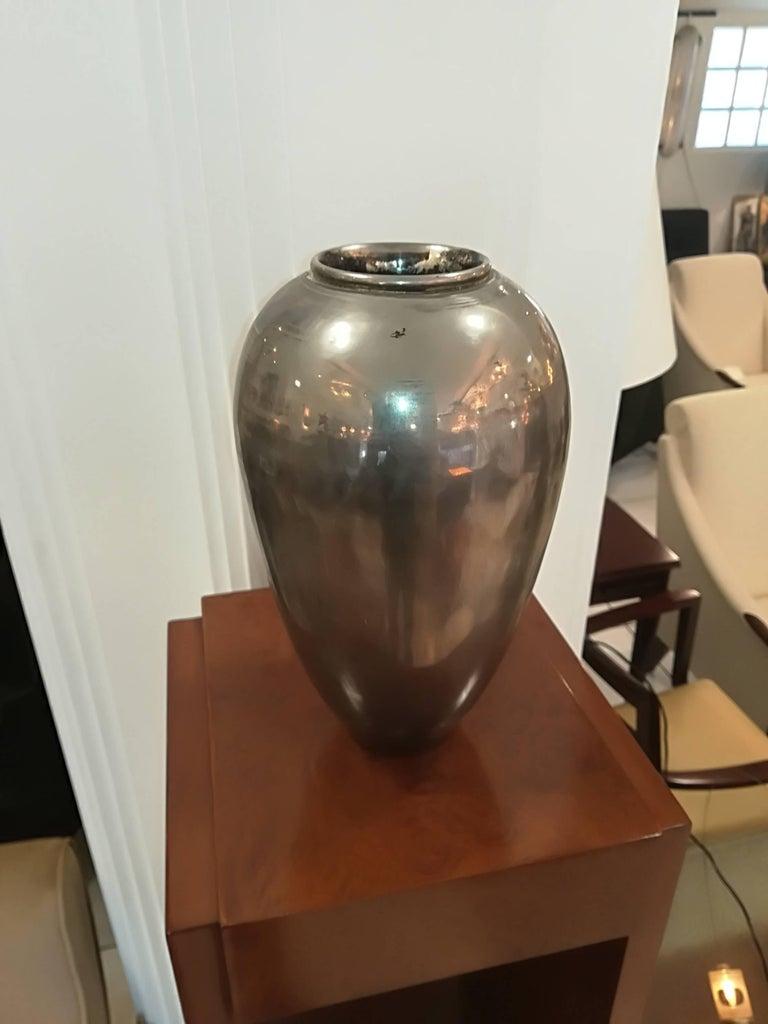 D.I.M. ( décoration intérieure moderne Art Deco Silver Plated Vase, circa 1930, signed