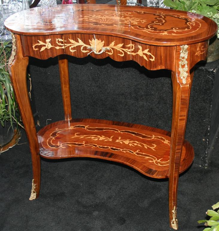 French inlaid marquetry kidney shaped side table at stdibs