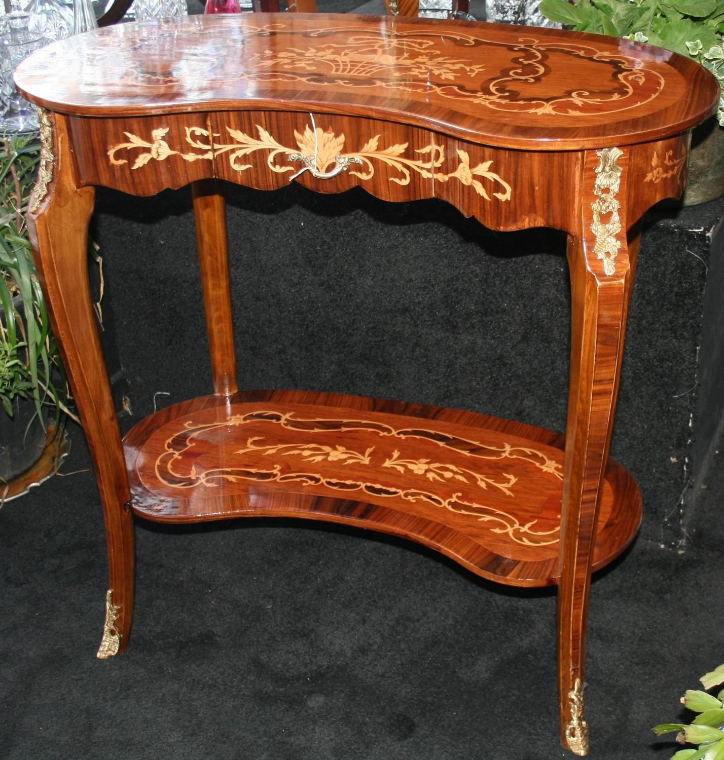 French inlaid marquetry kidney shaped side table for sale