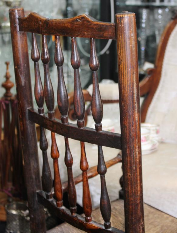 Antique Elm Spindle Back Childs Rocking Chair with Rushed Seat For ...