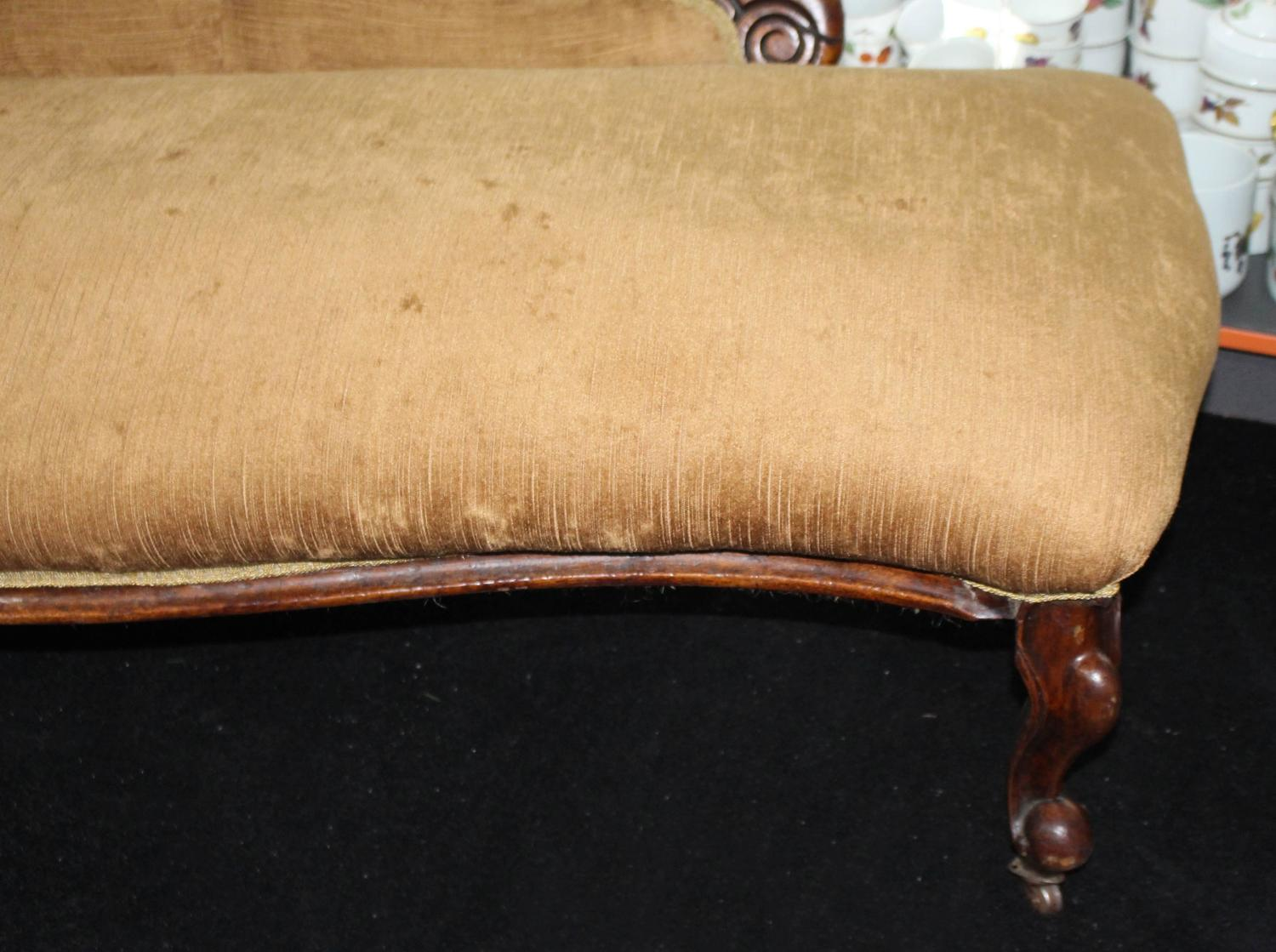 antique victorian walnut upholstered chaise longue for