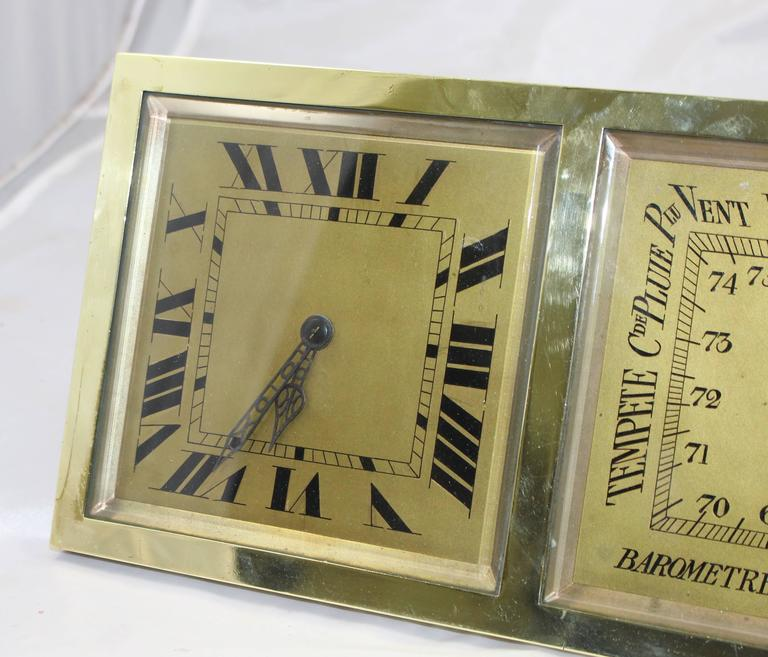 Antique French Brass Desk Clock Barometer by CH Depose In Excellent Condition In Worcester, Worcestershire