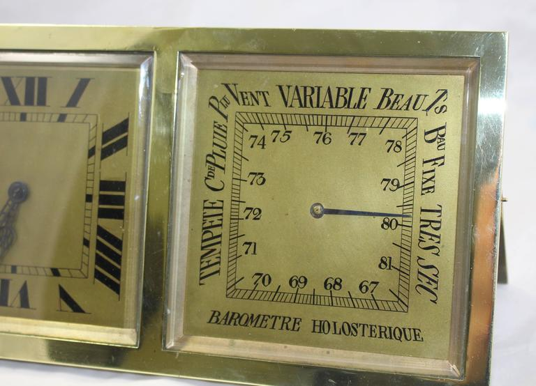 19th Century Antique French Brass Desk Clock Barometer by CH Depose