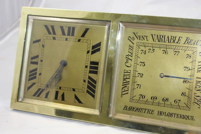 Period circa 1900. Measures: Width 29 cm, 11 1/2 in. Height 15 cm, 6 in. Maker C.H.Depose, French. Dial brass dial with Roman numerals. Original bevelled glass. Case heavy brass case, on picture frame style stand. Condition offered in very