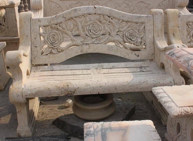 Carved golden travertine stone period style garden bench