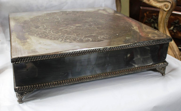 Antique Silver Plated Square Cake Stand For Sale at