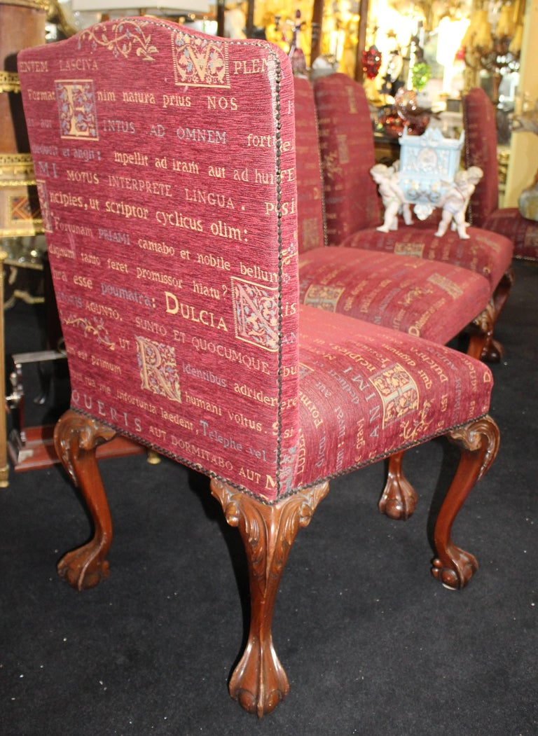 Set Of Six Upholstered Mahogany Chippendale Style Ball And