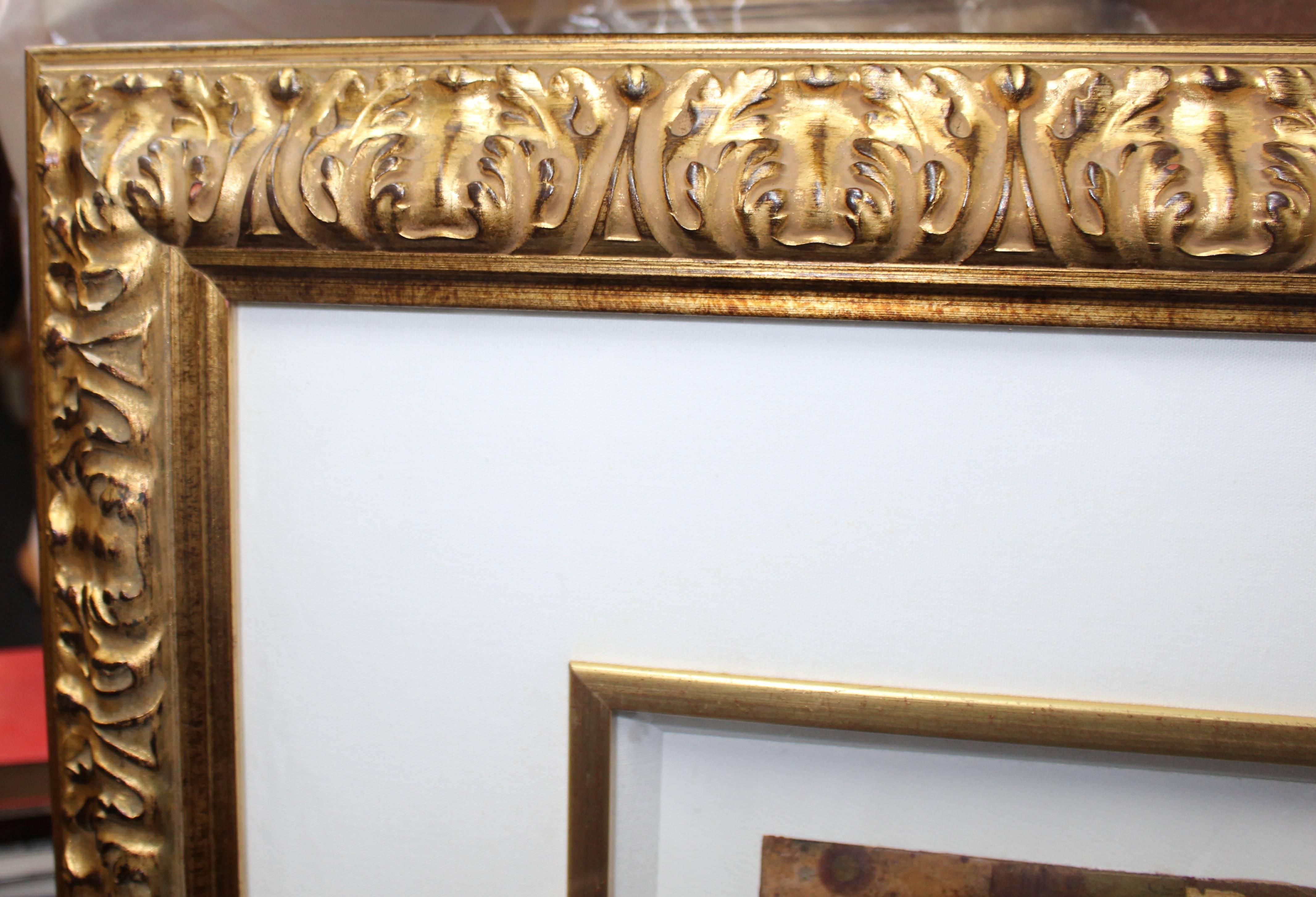 Mixed Media U0027Globeu0027 Artwork By S.Sokol Hohne Set In Carved Giltwood