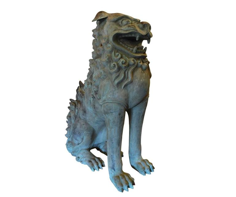 Fine Chinese Bronze Life Size Foo Dogs with Patina In Good Condition For Sale In Laguna Beach, CA