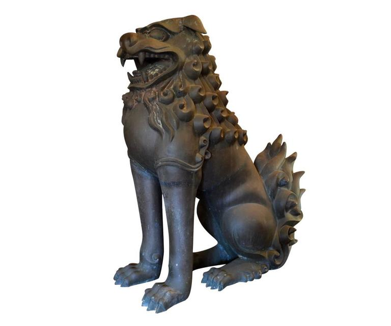 Patinated Fine Chinese Bronze Life Size Foo Dogs with Patina For Sale