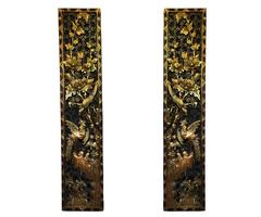 Pair of Left and Right, Chinese High Relief Carved Giltwood Panels