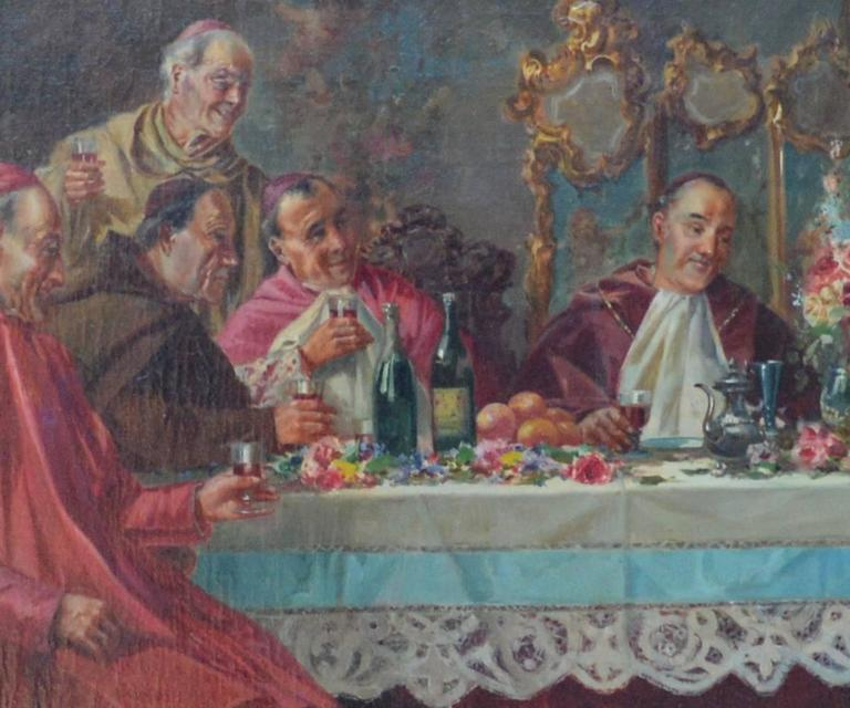 This oil painting is 19th century and features cardinals dining together in an animated setting. It is presented in a gilt, ornate frame.