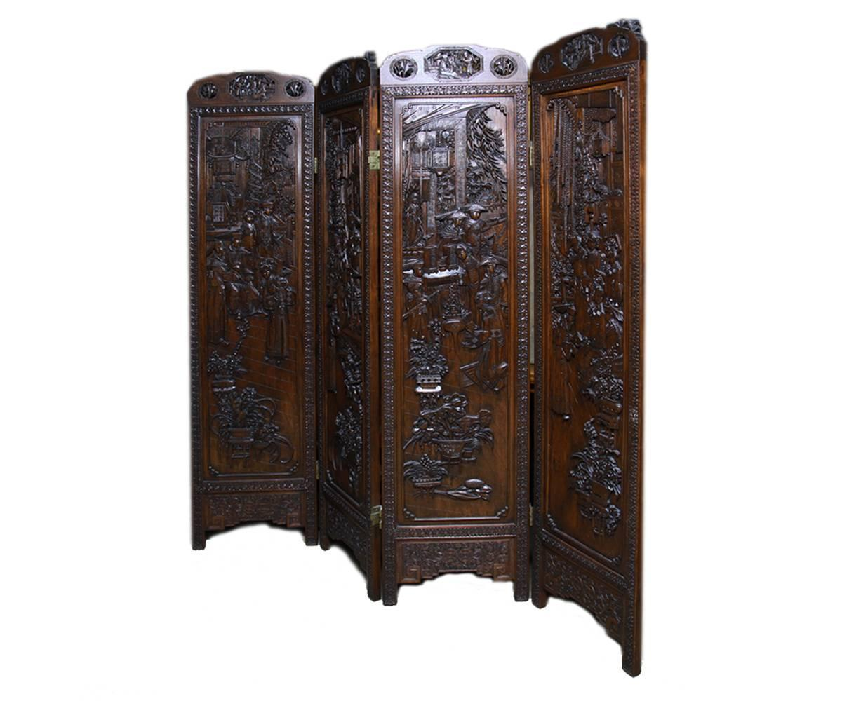 Carved Wood Screens ~ Chinese highly carved wood four panel screen divider at