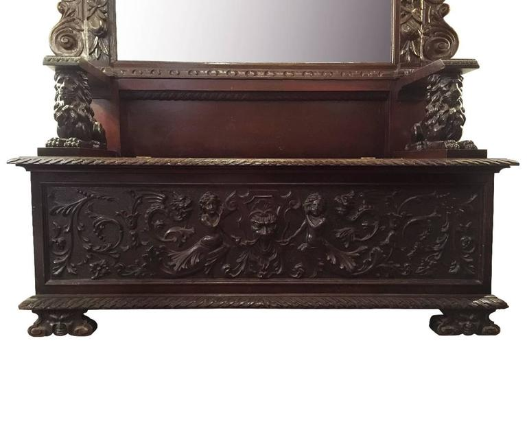 Antique Italian Hall Bench With Mirror At 1stdibs