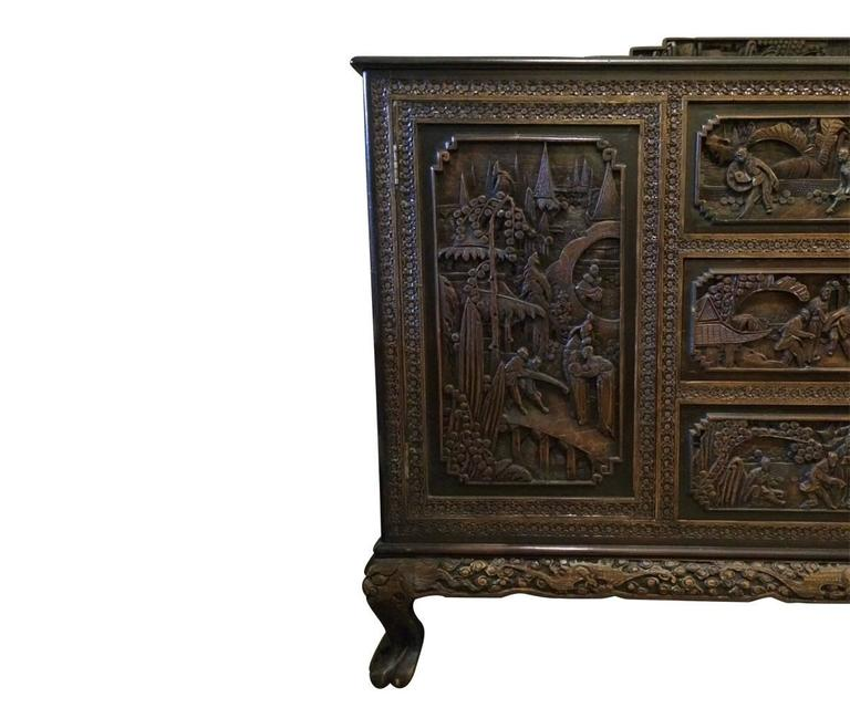 Antique Hand Carved Chinese Sideboard at 1stdibs : Asiancarvedwooddrawerdetail2l from www.1stdibs.com size 768 x 640 jpeg 47kB