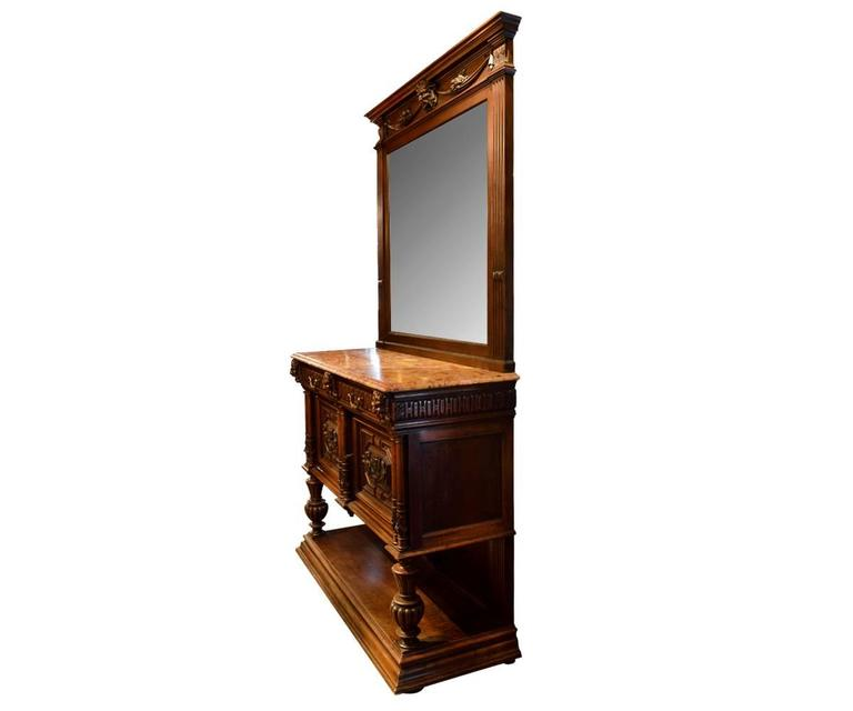 Antique French Hand Carved Sideboard With Tall Mirror For