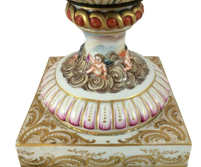 Antique Capodimonte Hand Painted Urn With Lid At 1stdibs