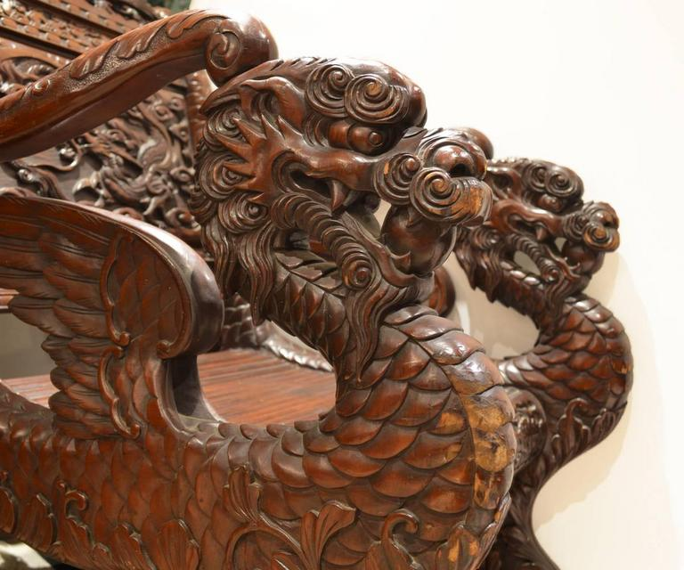 Japanese Carved Wood Dragon Chair At 1stdibs