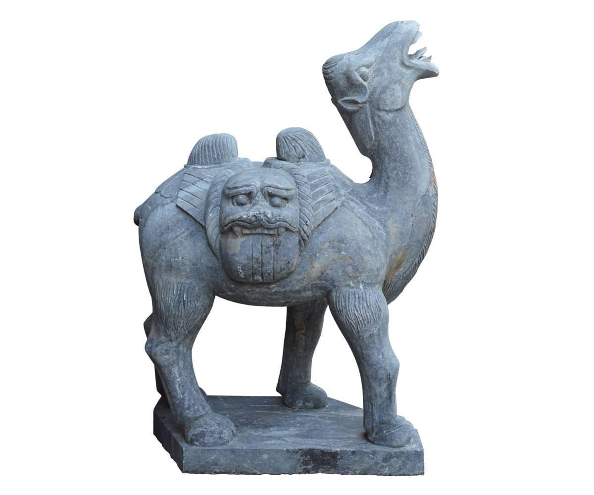 Large pair of chinese carved stone bactrian camels for