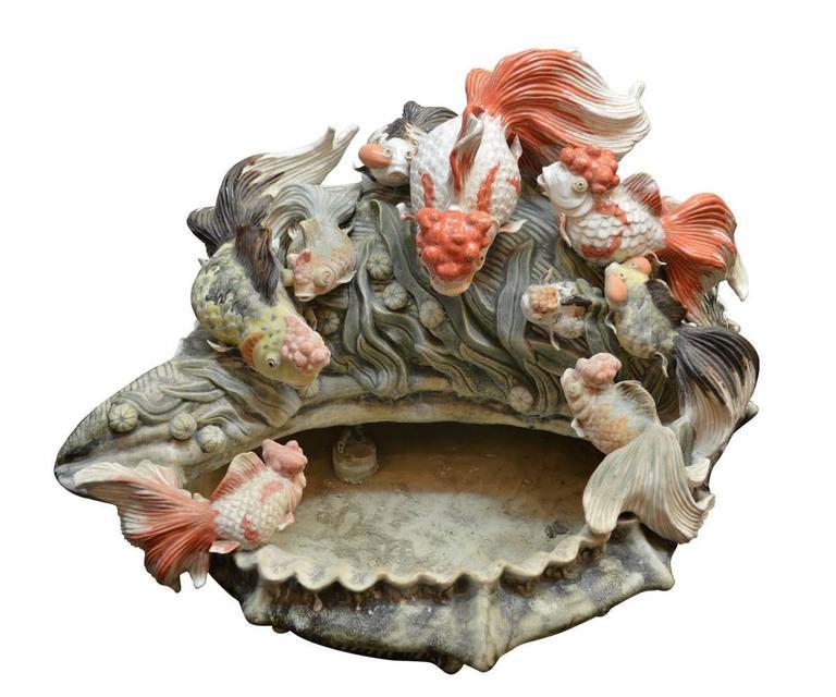 Large Chinese Hand Painted Ceramic Koi Fish And Shell