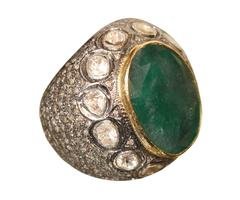 Huge Emerald and Diamond Ring