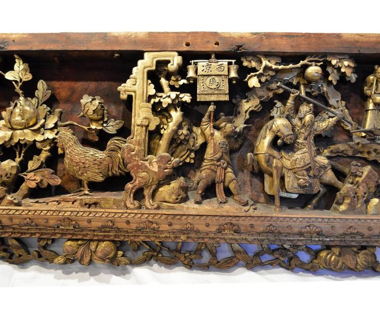 Chinese Export Antique Carved And Lacquered Gilt Panel For