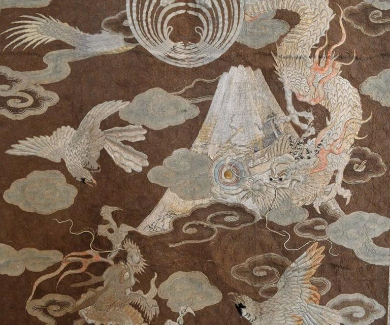 Large Antique Japanese Silk Embroidery Featuring Dragons In Clouds For Sale At 1stdibs
