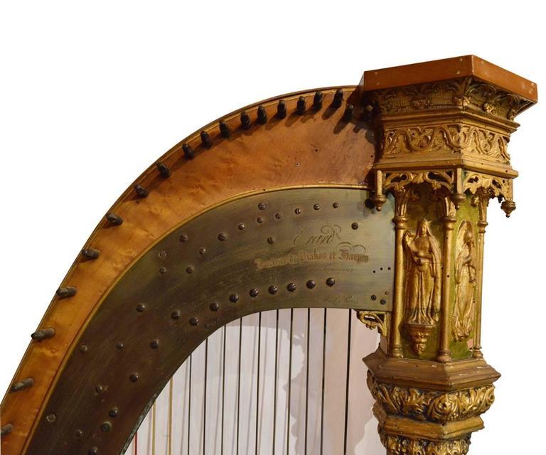 Erard Antique French Gothic Revival Style Parcel Gilt Harp