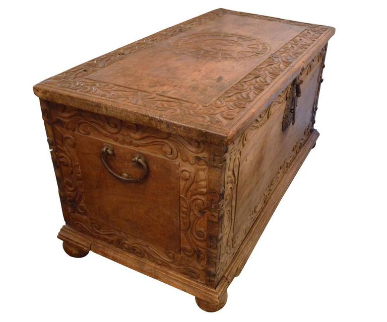 Very best Large Antique 17th Century European Hand-Carved Wood Trunk/ Hope  PR49