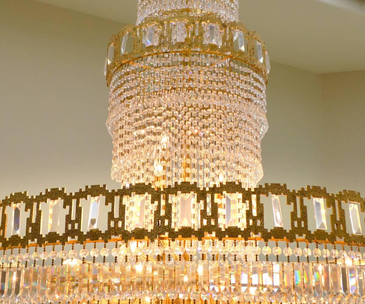 Very large mid century gold plated austrian crystal chandelier for very large mid century gold plated austrian crystal chandelier for sale at 1stdibs aloadofball Image collections