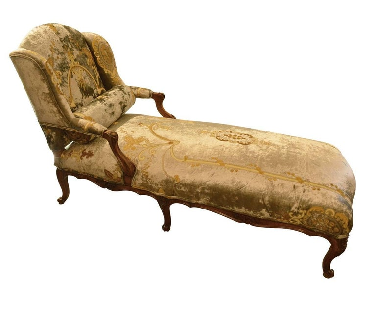 Antique french walnut chaise longue for sale at 1stdibs for Antique french chaise