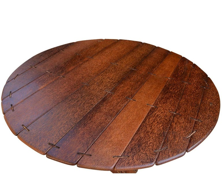Large Palmwood Pacific Green Dining Navajo Round Dining Table From - Palm-tree-furniture-from-pacific-green