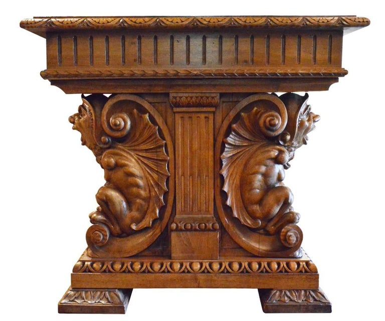 European Antique Gothic Style Hand-Carved Walnut Table or Desk For Sale - Antique Gothic Style Hand-Carved Walnut Table Or Desk For Sale At