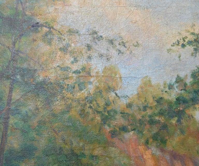 Signed Oskar Larsen Forest Waterfall Oil Painting For Sale
