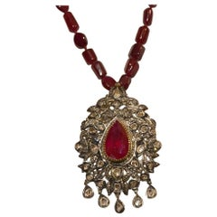 Ruby and Diamond Pendant with Necklace