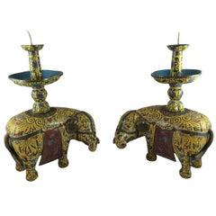Antique Chinese Cloisonné Elephants