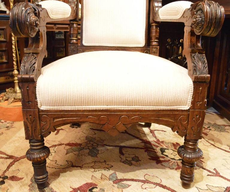 Antique Walnut Parcel Gilt Gothic Style Hand Carved Parlor/Dining Room Set  For