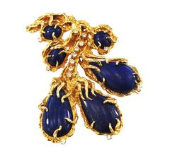 Vintage Large Lapis 14-karat Gold Diamond Brooch Free-Form, circa 1970