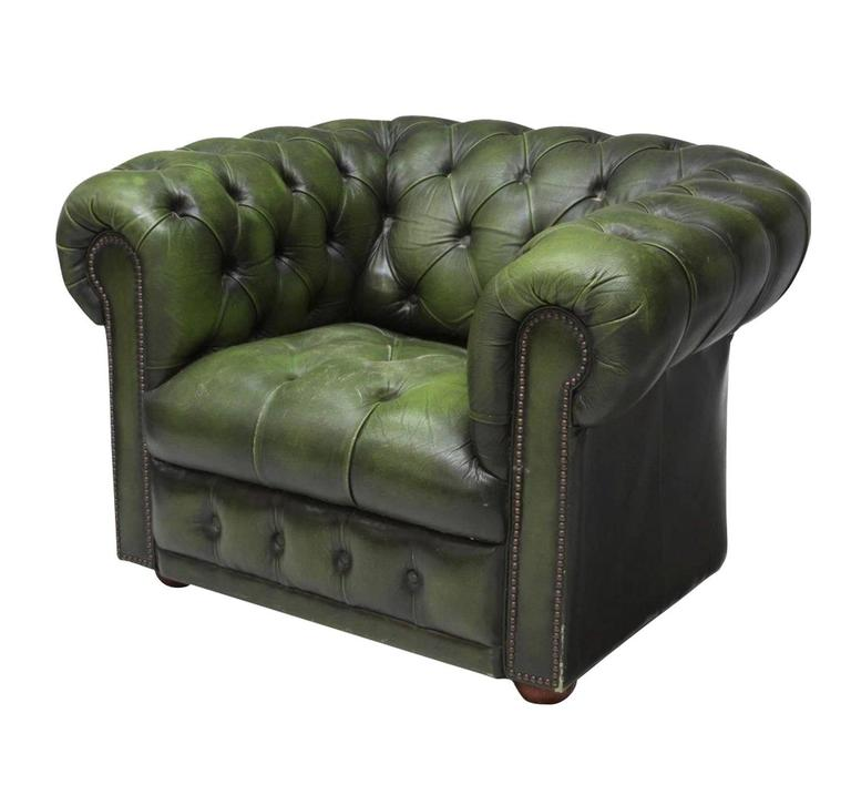 green leather vintage chesterfield club armchair at 1stdibs