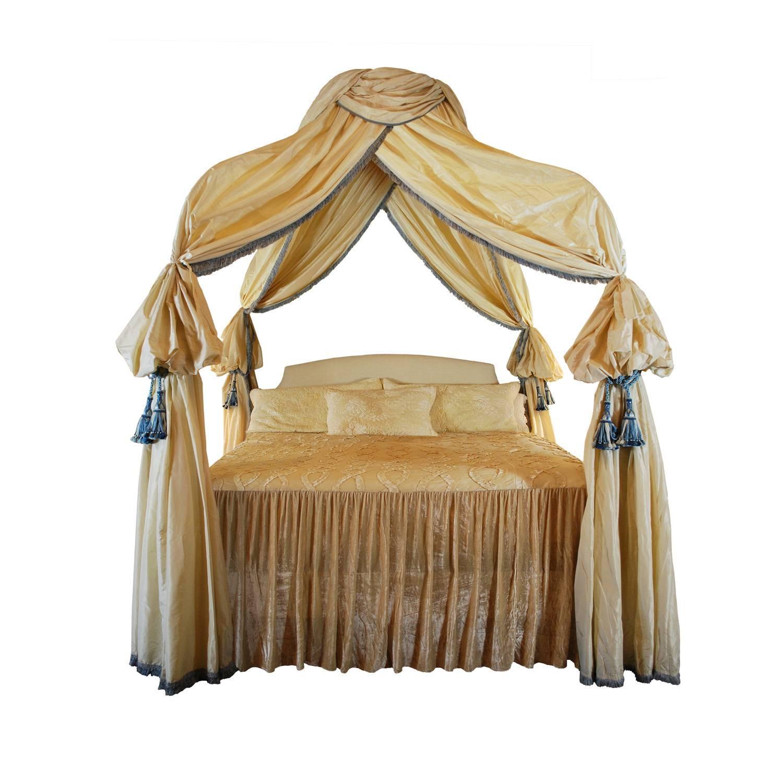 Romantic Custom Canopy Bed King Size Frame Silk Drapery For Sale  sc 1 st  1stDibs & Custom Canopy Bed King Size Frame Silk Drapery For Sale at 1stdibs