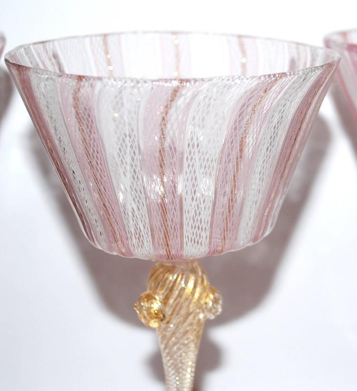 Mid-Century Modern Set of Ten Vintage Venetian Glass Latticino Goblets Wine Water Stems