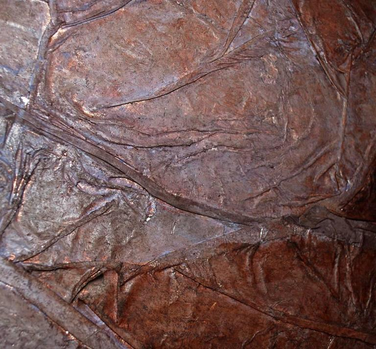 Post-Modern Large Abstract Modern Mixed-Media Painting on Canvas Brown, circa 1970 For Sale