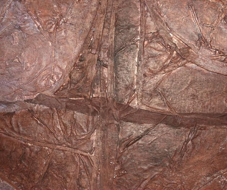 20th Century Large Abstract Modern Mixed-Media Painting on Canvas Brown, circa 1970 For Sale