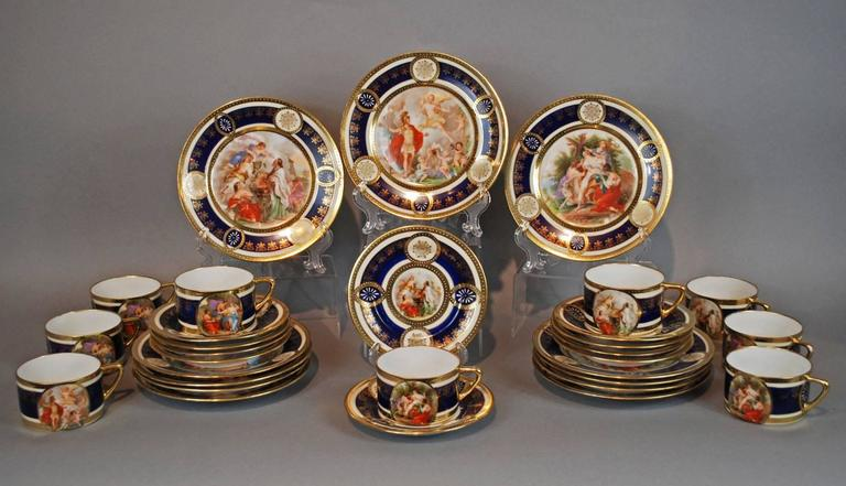 Neoclassical Royal Vienna Style Coffee Tea Set Dessert Service for 16, circa 1930 For Sale
