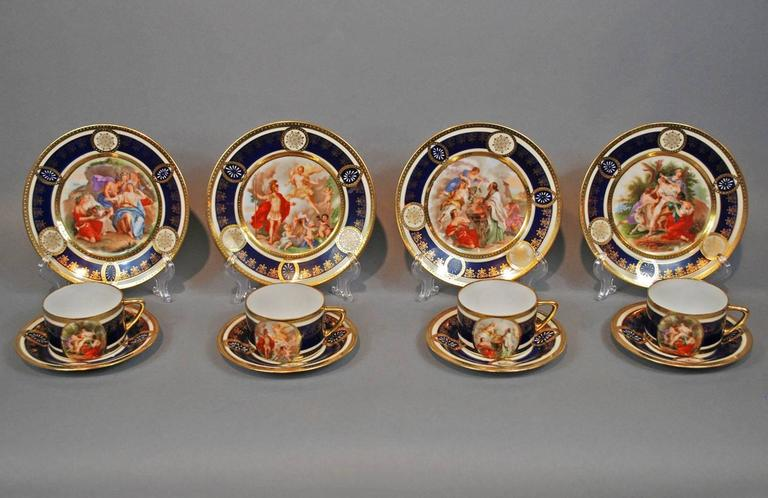 Czech Royal Vienna Style Coffee Tea Set Dessert Service for 16, circa 1930 For Sale