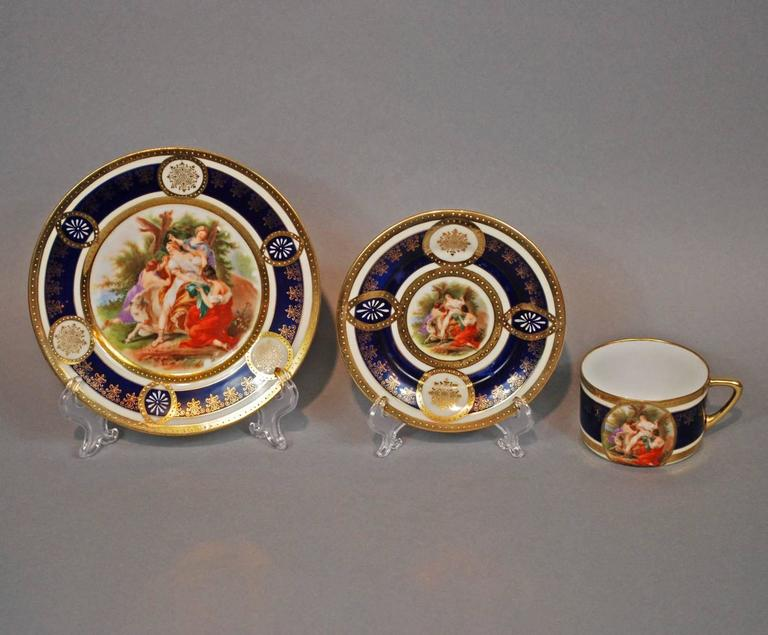 Hand-Crafted Royal Vienna Style Coffee Tea Set Dessert Service for 16, circa 1930 For Sale