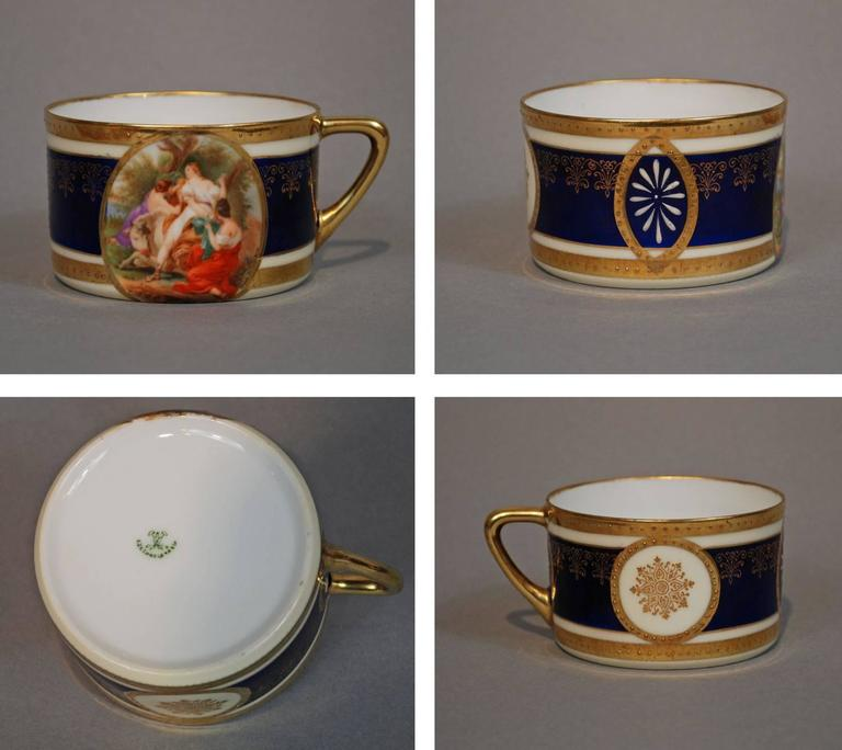 Royal Vienna Style Coffee Tea Set Dessert Service for 16, circa 1930 In Good Condition For Sale In Austin, TX