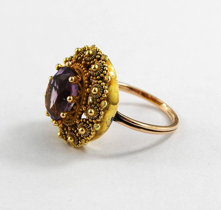 Rare Georgian Antique Gold Amethyst Ring Cannetille circa 1830 at
