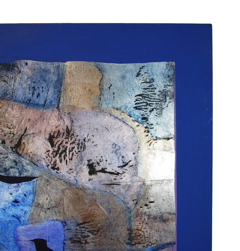 e65f992880c American Abstract Blue Silver Leaf Mixed Media Painting Canvas Vera Simons  For Sale